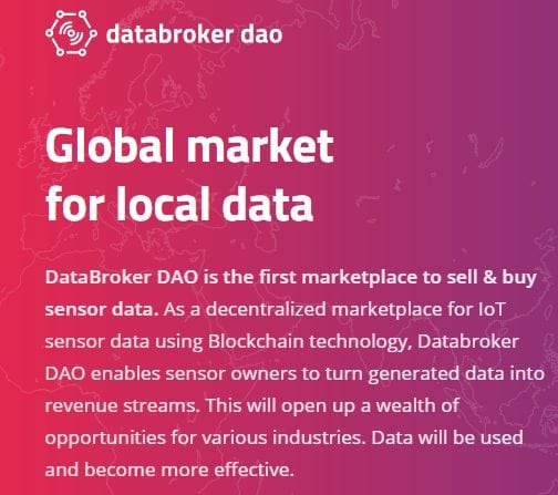 1 - IoT Marketplace DataBroker DAO Reveals Three New Partners And Latest Listing On Tokenjar