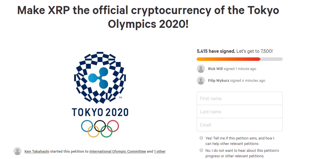 FireShot Capture 198 Petition · International Olympic Comm  https   www.change.org p internati - XRP Could Go Straight To The Moon If It Becomes The Official Crypto Of The 2020 Olympics