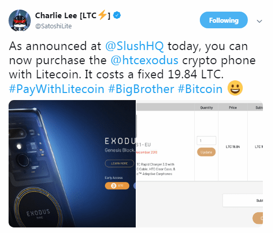 CL - Litecoin Enjoys Enhanced Adoption As HTC's Exodus 1 Phone Adds Support For LTC