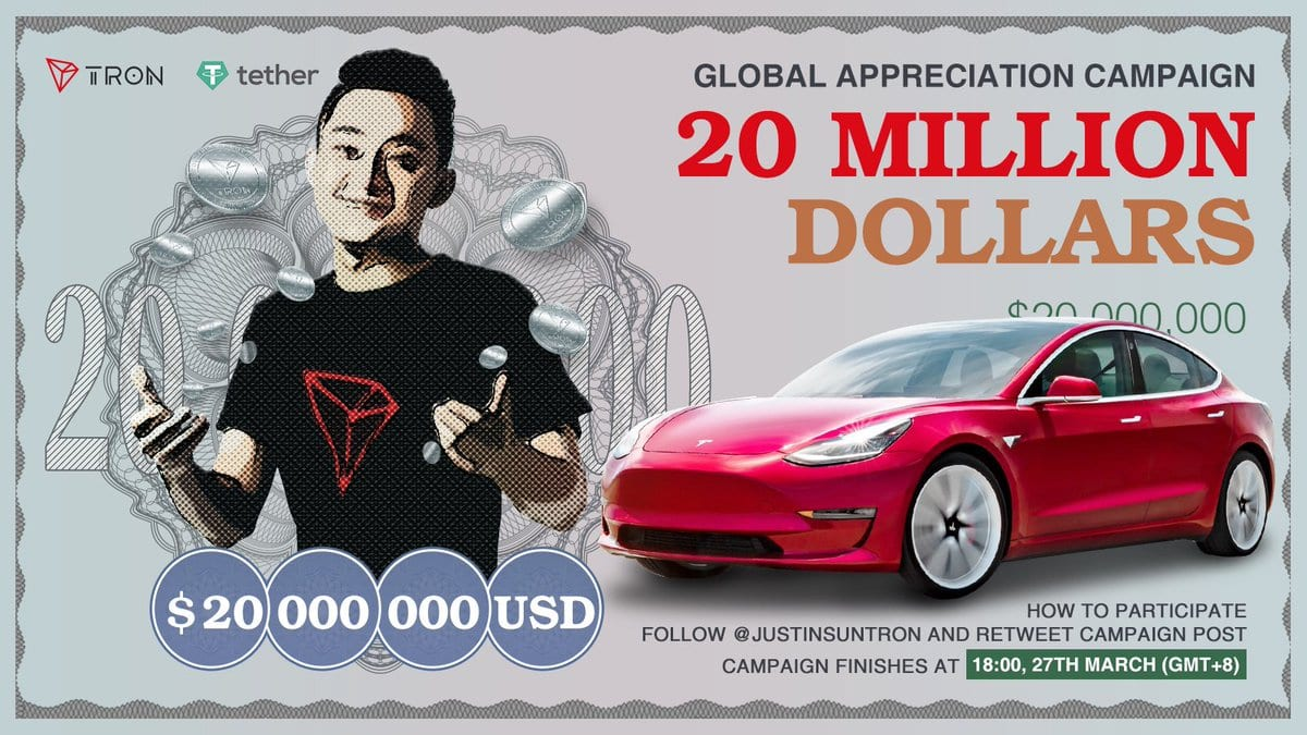 D1d8pODUYAEjt1s - Tron's CEO, Justin Sun Celebrates BitTorrent's Astonishing Success By Announcing A $20 Million Free Cash Airdrop & A Tesla For One Follower
