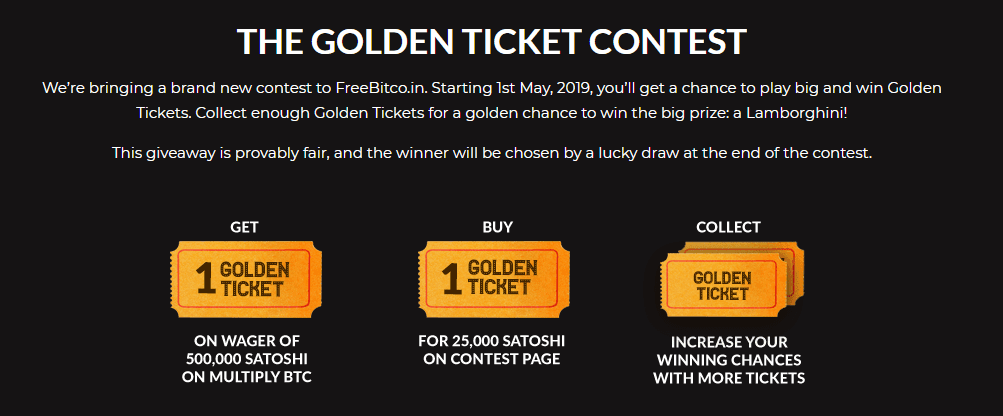 1 2 - FreeBitco.in Giveaway: The Bitcoin Faucet Site Offers A Lamborghini Huracan As Part Of The Golden Ticket Competition