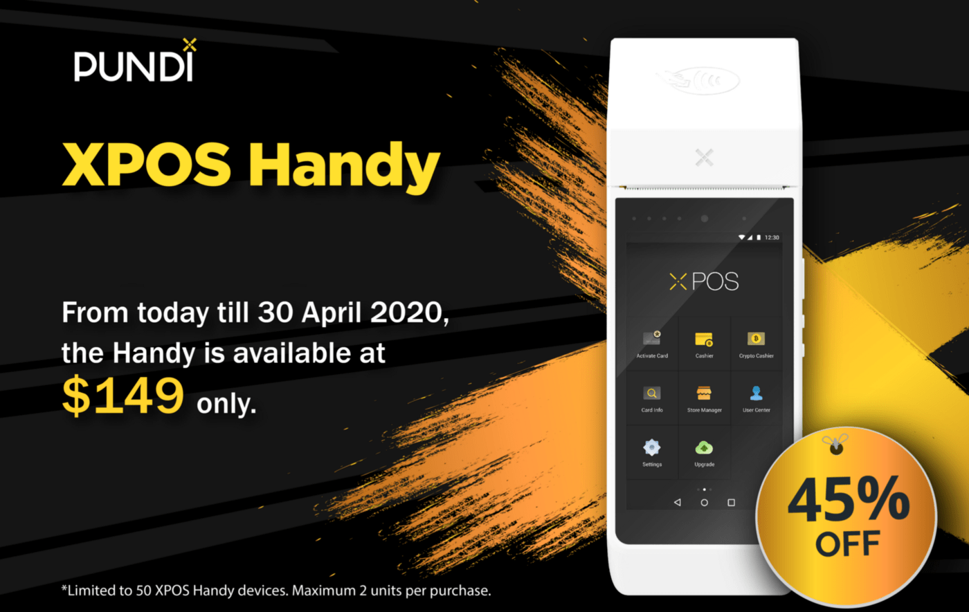XPOS handy - Pundi X (NPXS) to Give Away 50 Free XPOS Devices to Merchants in COVID19 Relief Program